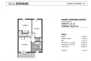 villa romane étage , lot 1, 3, 11, modèle Symphonie jumelée, grand couronne, paris vendome patrimoine