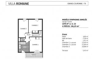 villa romane étage , lot 2, 4, 12, modèle Symphonie jumelée, grand couronne, paris vendome patrimoine