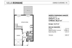 villa romane garage à gauche, lot 1, 3, 11, modèle Symphonie jumelée, grand couronne, paris vendome patrimoine